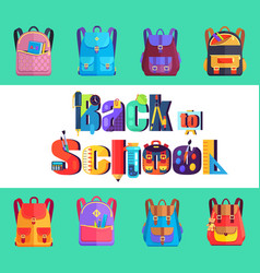 back to school poster with rucksacks and bags vector image