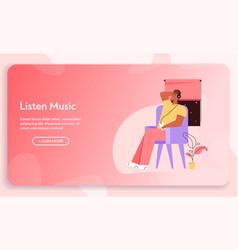 banner listen music concept vector image
