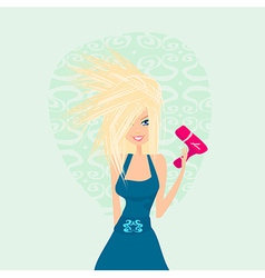 beautiful woman drying her hair by dryer vector image
