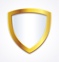 Blank gold and white shield for selling points vector