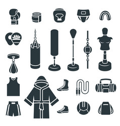 boxing icons flat silhouettes icons vector image