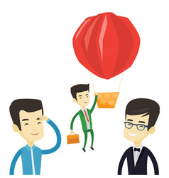 Business man hanging on balloon vector