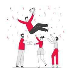 Business success congratulation businesspeople vector