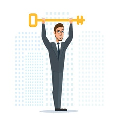 Businessman or manager holds a golden key in his vector image vector image