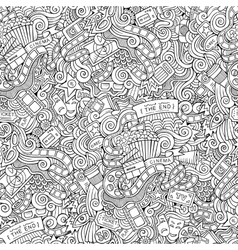 Cartoon doodles cinema seamless pattern vector image