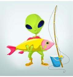 Cartoon Fisherman Alien vector