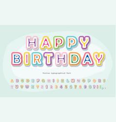 Cartoon font for kids happy birthday paper cut vector