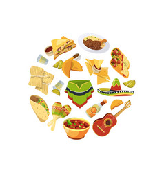 cartoon mexican food in circle shape vector image