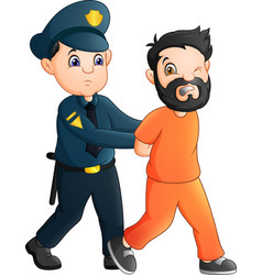 Cartoon police officer with a prisoner vector