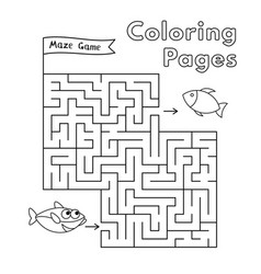 cartoon shark coloring book maze game vector image