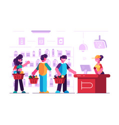 cashier at cash desk in supermarket vector image