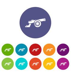 Cast-iron cannon icons set color vector