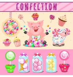 Cheerful pink pig and lots different sweets vector