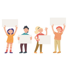 children kid boy girl holding banners isolated set vector image