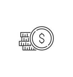 coins stack related line icon vector image