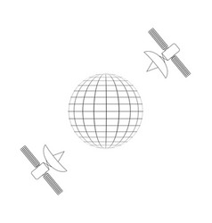 communication via satellite planet and satellite vector image