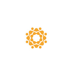 connection circles logo template abstract orange vector image