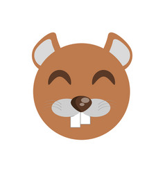 cute face beaver animal cheerful vector image