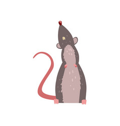 Cute grey mouse looking up funny rodent character vector
