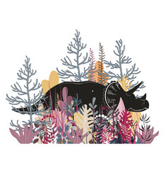 cute triceratops in jungle dinosaur in the vector image