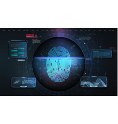 cyber security concept fingerprint scanning on vector image