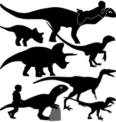 dinosaur and kid silhouette vector image
