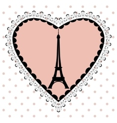 eiffel tower in the frame of hearts vector image