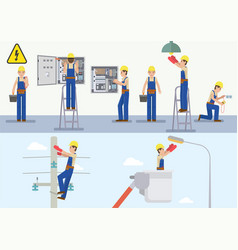 Electrician at work vector