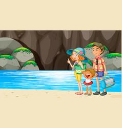 family at beach scene vector image