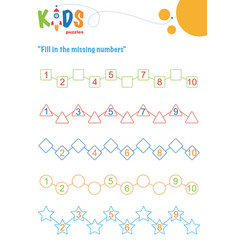 Fill in missing numbers counting worksheet vector