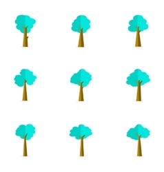 Flat of tree stock collection vector