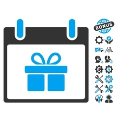 Gift Box Calendar Day Icon With Bonus vector