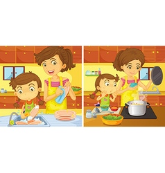 Girl helping mom in the kitchen vector