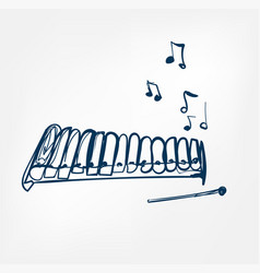 glockenspiel sketch line design music instrument vector image