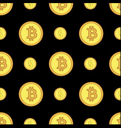 Golden coins with bitcoin and dollar signs vector