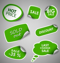 Green collection stickers sale discount template vector