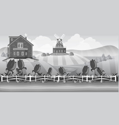 grey country landscape with field vector image