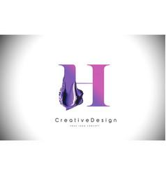 h letter design brush paint stroke purple h vector image