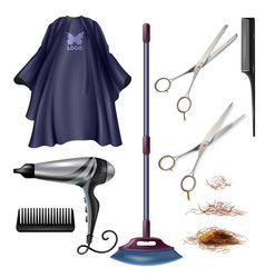 Haircutter professional tools realistic set vector