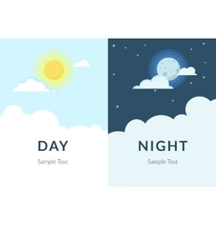half day night sun and moon with clouds vector image