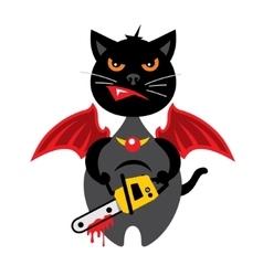 Halloween Crazy Black Cat Cartoon vector image