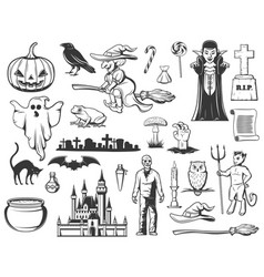 halloween witch ghost pumpkin monster icons vector image