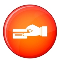 Hand holding a credit card icon flat style vector