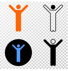 hands up person eps icon with contour vector image