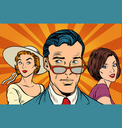 handsome man choosing between two women vector image