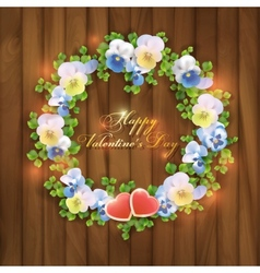 Happy Valentines Day floral greeting card vector