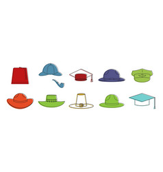 Hats icon set color outline style vector