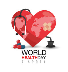 Heart with pills and stethoscope to health day vector
