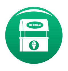 Ice creme selling icon green vector