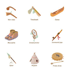injun icons set cartoon style vector image
